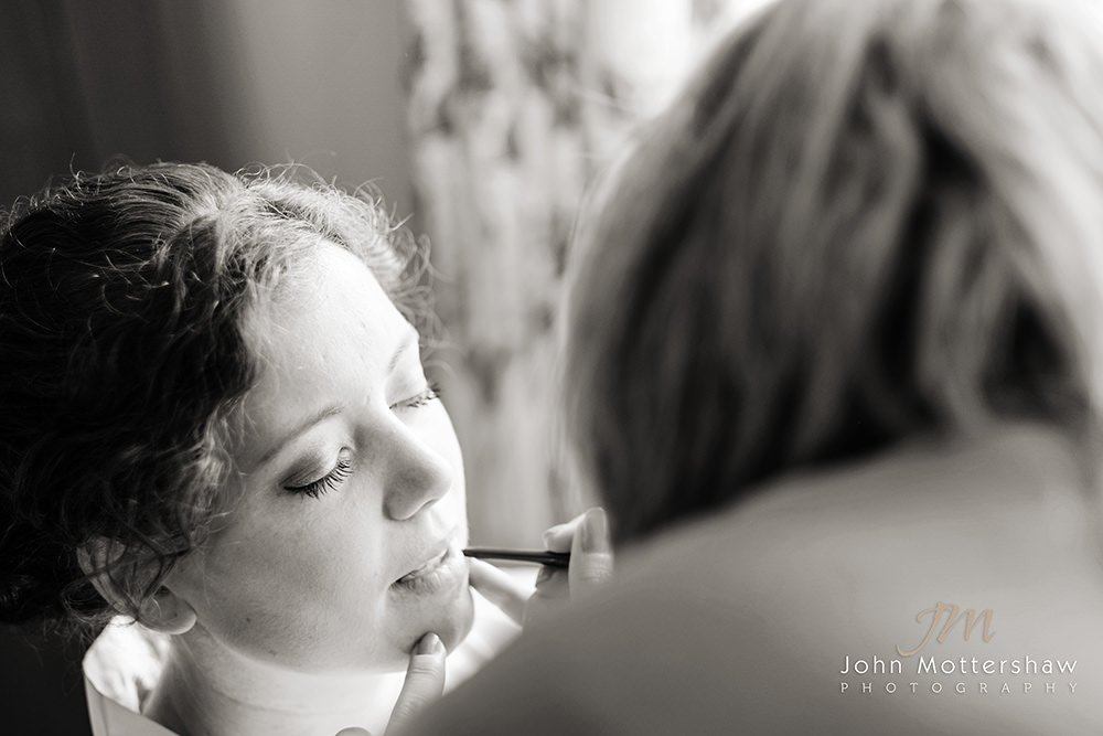 Hair and make up being done at a Peak District wedding