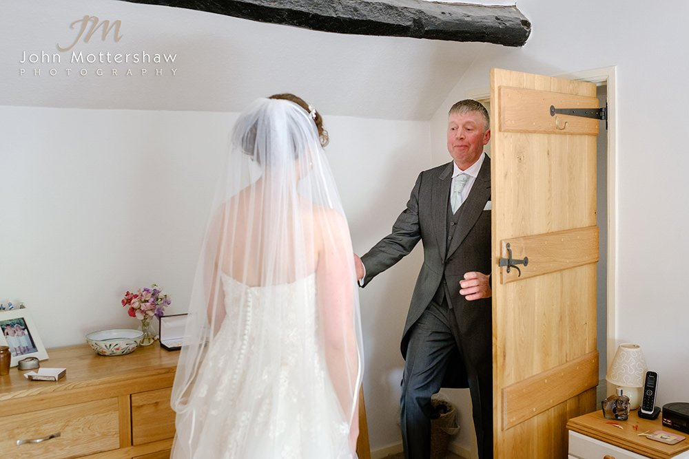 Sheffield wedding photographer captures a father seeing his daughter ready for her wedding
