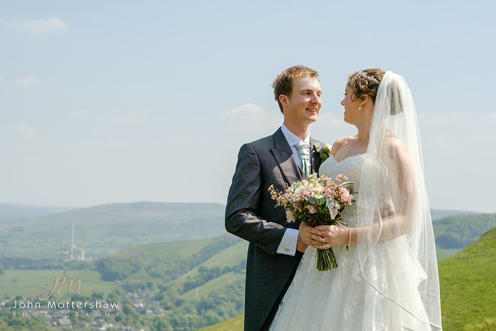 Wedding portraits looking over the Hope Valley in the Peak District.