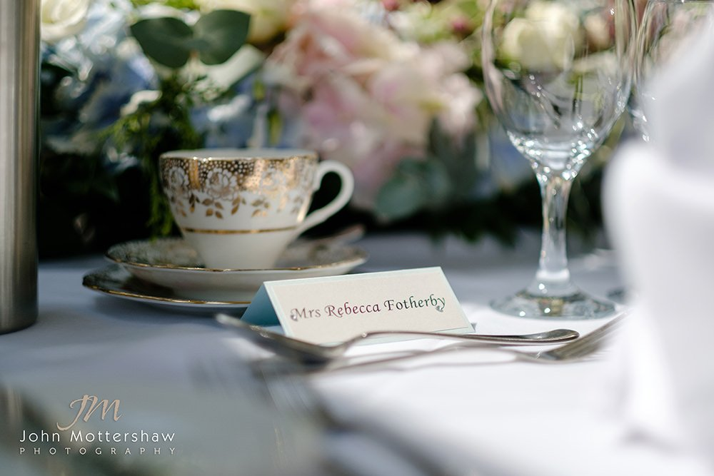 place setting at a wedding at Losehill House, near Sheffield