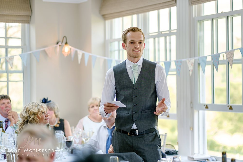 best man makes his speech at this wedding at Losehill House near Sheffield.