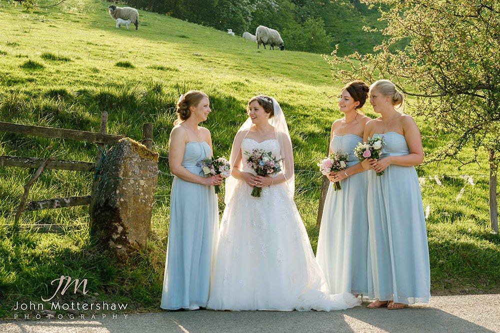 Sheffield wedding photographer captures bride and bridesmaids at a wedding at Losehill House near Sheffield