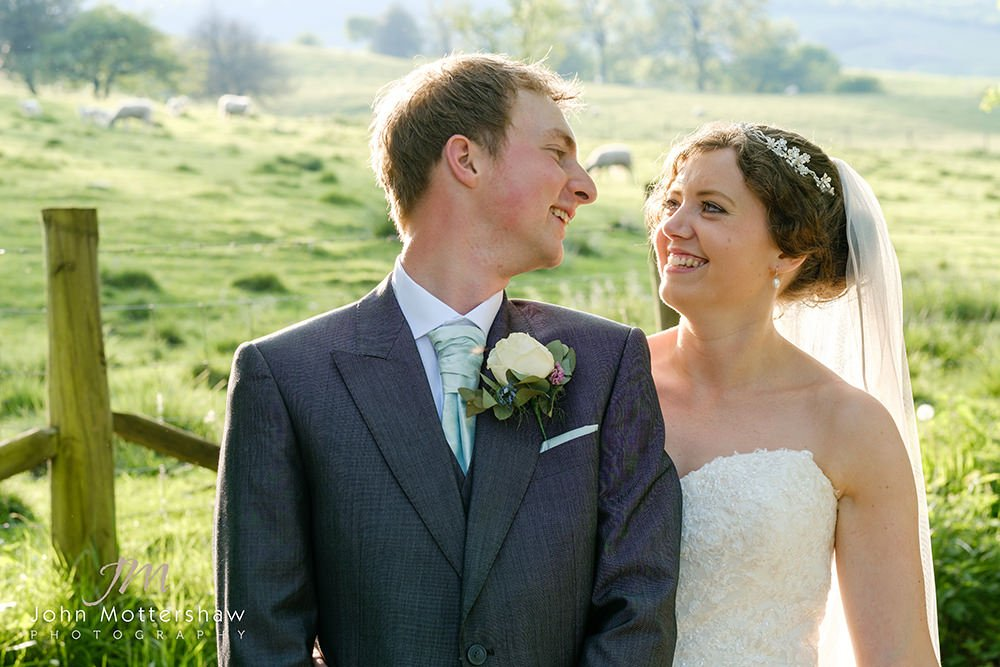 bride and groom at a Sheffield wedding at Losehill House in the Peak District