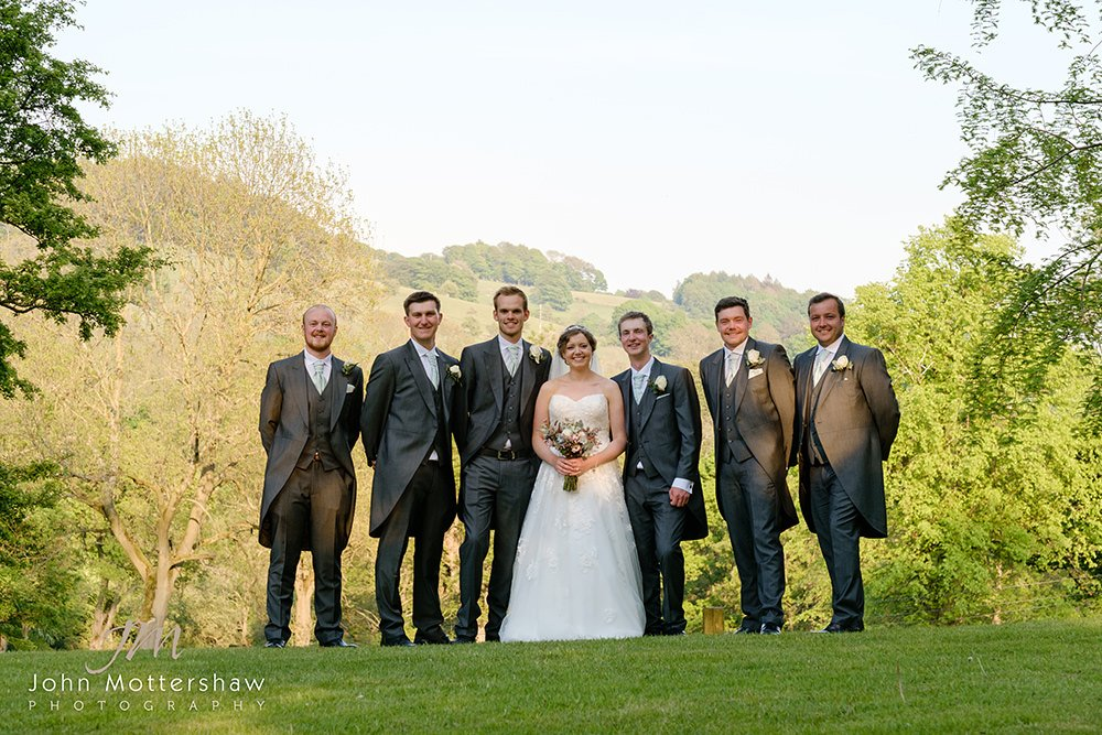 group photograph at a wedding at Losehill House