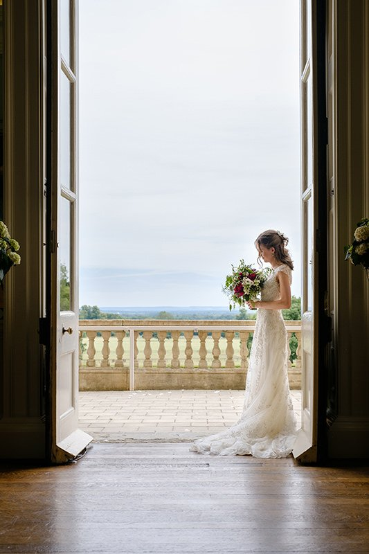 bridal portrait in doorway by Sheffield wedding photographer John Mottershaw