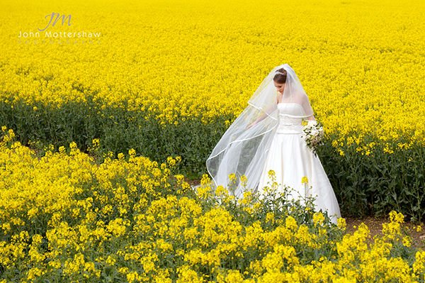 Bridal portrait in the Derbyshire Peak District. The bride poses against bright yellow background.