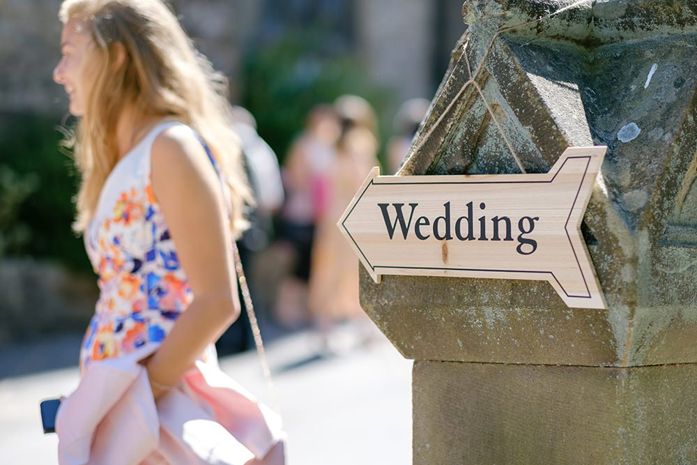 Wedding sign pointing towards St Anne's church in Buxton.