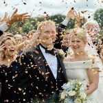 Confetti photograph at a joyous summer Sheffield wedding at a hotel in Derbyshire