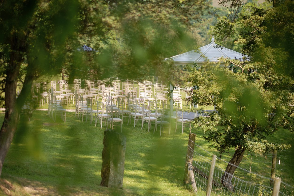 Chairs ready for an outdoor wedding at Losehill House in the Peak District.