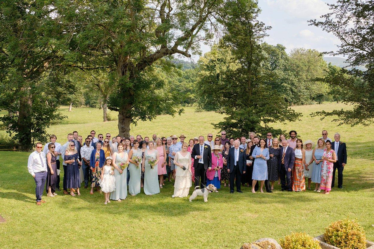 Group shot at wedding at Losehill House