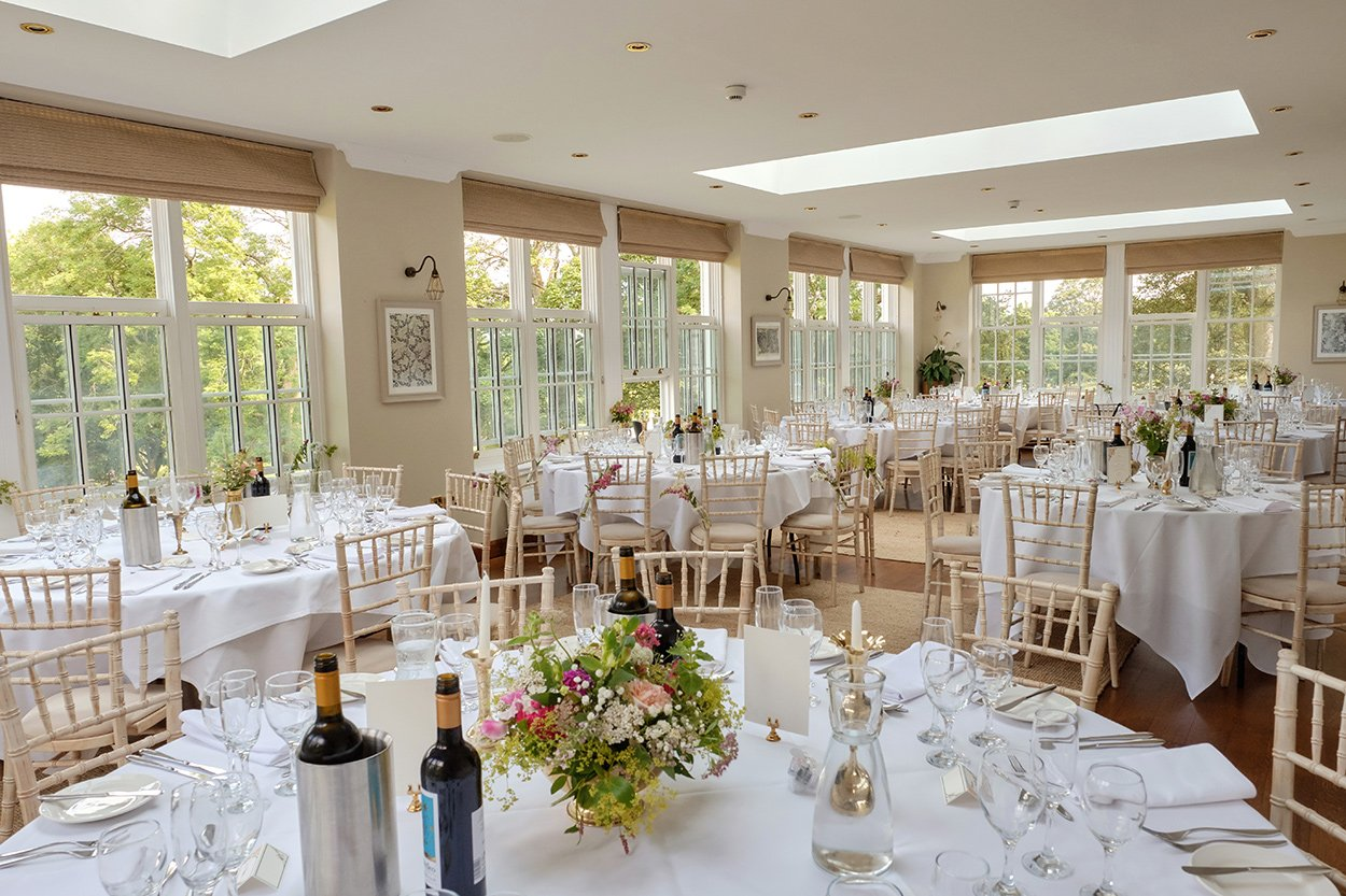 The dining room at Losehill House laid out for a wedding breakfast