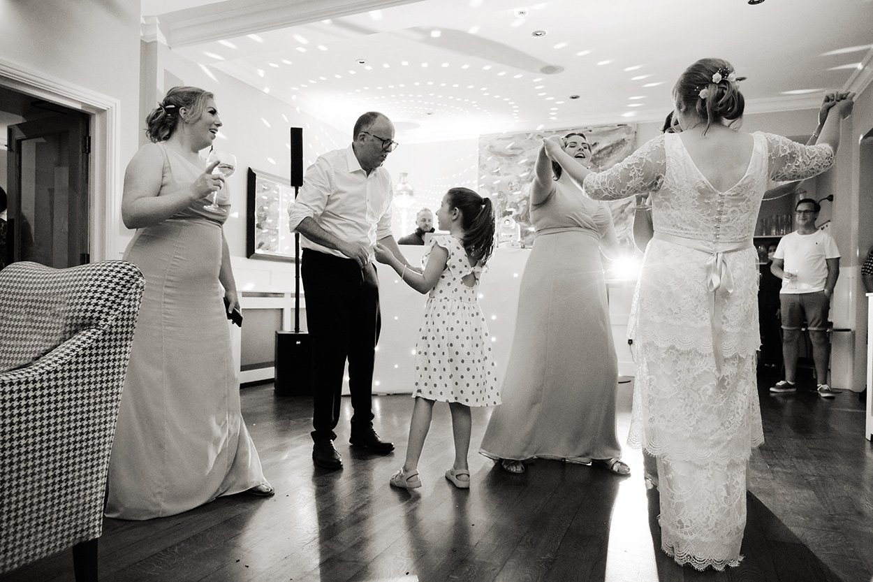 dancing at Losehill House. Black and white